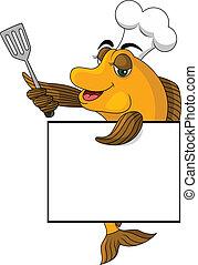 cocinero, pez, caricatura