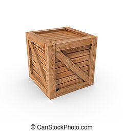 Wooden Crate - A wooden crate isolated on a white background