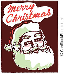 A Christmas inspired Santa illustration with the text Merry...
