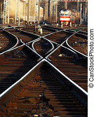 Crossrails - rusty rails, railroad ties, train