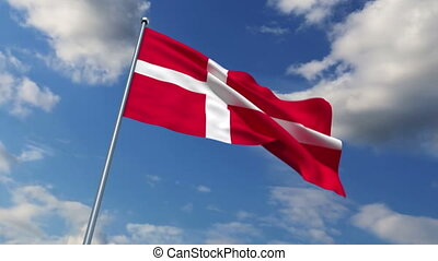Danish flag waving against time-lapse clouds background