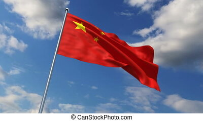 Chinese flag waving against time-lapse clouds background