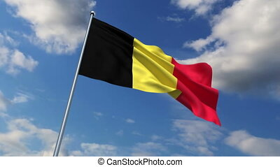 Belgian flag waving against time-lapse clouds background