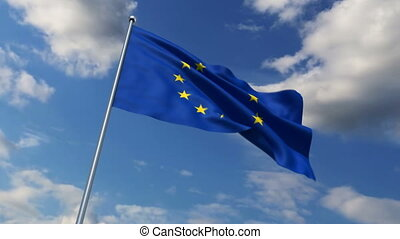 Eurounion flag waving against time-lapse clouds background
