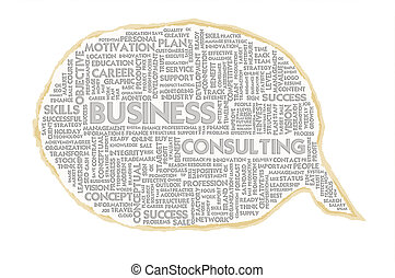 Wordcloud on texture paper speech bubble, Business concept