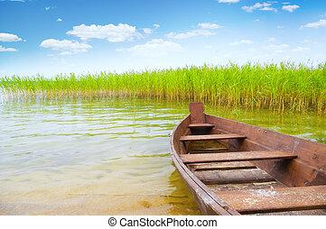 小船, 銀行, 湖
