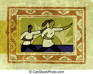 A framed picture of two people doing tai chi