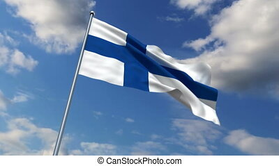Finnish flag waving against time-lapse clouds background