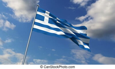 Greece flag waving against time-lapse clouds background