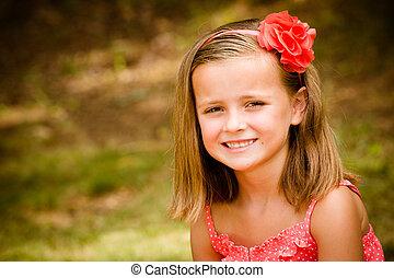 夏天, 在戶外, 年輕, 相當, 孩子, 肖像, 微笑, 女孩