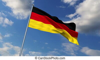 German flag waving against time-lapse clouds background