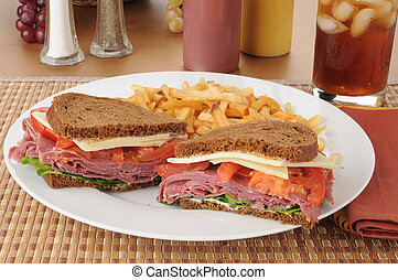 Corned beef sandwich with fries