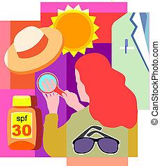 Collage of a sun, a hat, a doctor's white coat, sunglasses,...