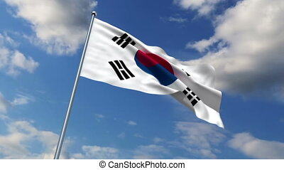 South Korean flag waving against time-lapse clouds...