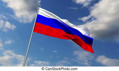 Russian flag waving against time-lapse clouds background