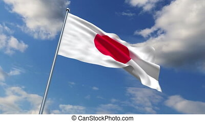 Japanese flag waving against time-lapse clouds background