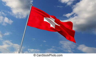 Swiss flag waving against time-lapse clouds background