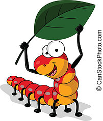 red worm cartoon with leaf - vector illustration of worm...