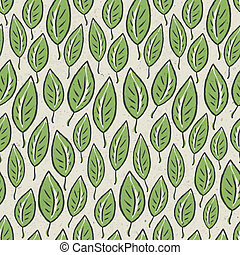 Green abstract leaf seamless pattern on recycle ecology paper texture. Vector illustration, EPS10.
