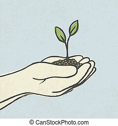 Hands with green sprout and dirt heap. Hand-drawn vector...