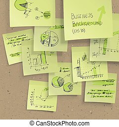 Yellow sticky notes with business infographics on cork...