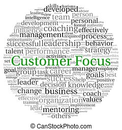 Customer Focus concept in word tag cloud on white background