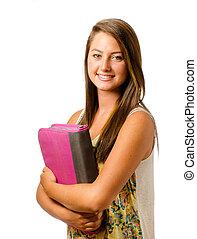 Portrait of happy smiling teenage schoolgirl