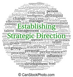 Establishing Strategic Direction concept in word tag cloud...