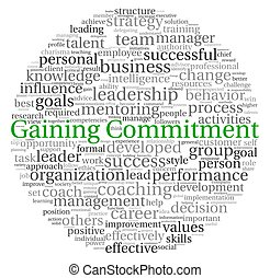 Gaining Commitment concept in word tag cloud on white...