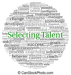 Selecting Talent concept in word tag cloud on white...