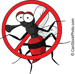 stop mosquito - vector illustration of stop mosquito cartoon...