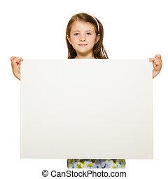 美麗, 很少, 房間, 正文, 空白, 被隔离, 簽署, 背景, 藏品, 肖像, 女孩, 白色