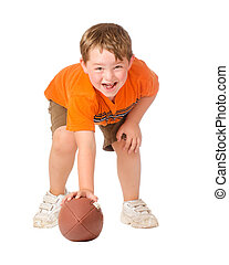 Child playing with American football isolated on white