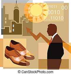 A montage of a man, pair of shoes, sun, graph, high-rise...