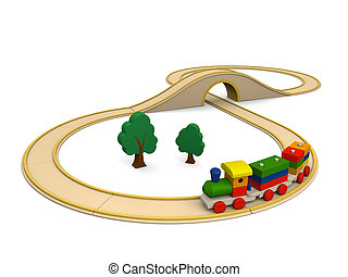 Wooden toy train with track
