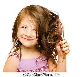 pelo, cuidado, concepto, retrato, niña, cepillado,...