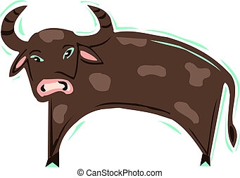 Illustration of a brown ox