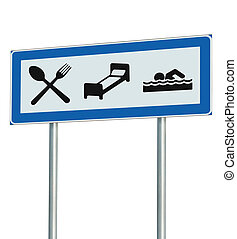 Parking Lot Road Sign Isolated, Restaurant, Hotel Motel,...