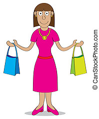 Shopping time - A woman after shopping carries two bags...