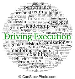 Driving Execution concept in word tag cloud on white...