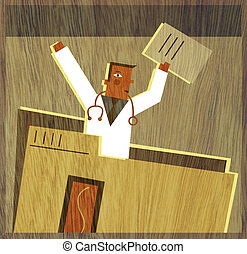 A physician holding documents in the air and standing up...