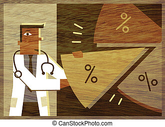A doctor taking a piece of a pie chart