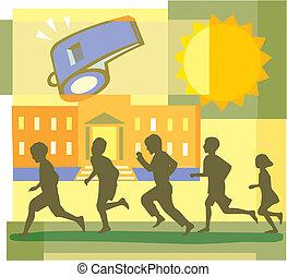 Montage, pfeifen, Schule, rennender, Kinder