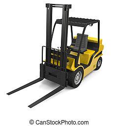 Forklift - 3D illustration of modern yellow forklift truck...
