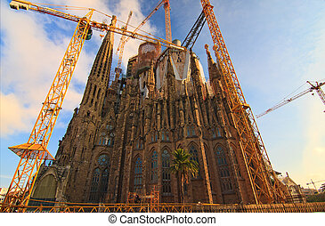 BARCELONA, SPAIN - FEBRUARY 25: Sagrada Familia on February 25, 2012: La Sagrada Familia - the impressive cathedral designed by Gaudi, which is being build since 19 March 1882 and is not finished yet.