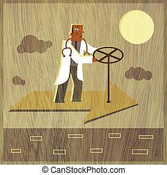 A doctor steering a flying arrow