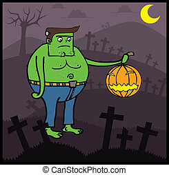 Frankenstein in Halloween night - Frankenstein cartoon who...