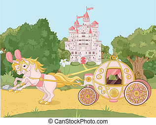 Fairytale carriage - Beautiful  fairytale  pink carriage