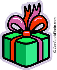 Illustration of a green present with a red bow