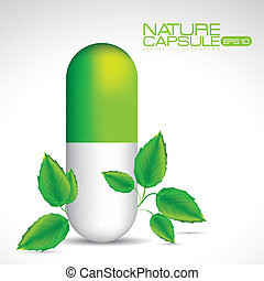 Nature capsule illustration - Capsule illustration isolated...
